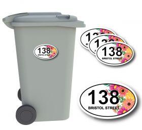 x4 Personalised Number & Street Name Wheelie Bin Stickers (Flower_YPF001-01)