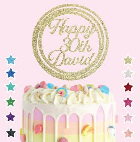 Personalised Happy Birthday Cake Topper Decoration - #HP_Circle02