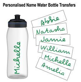 Personalised Name Water Bottle Sticker Transfer (3 Pack) - Dark Green