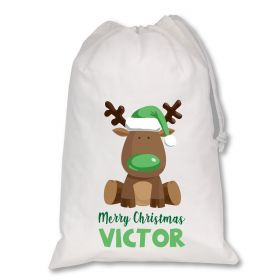 Extra Large White Santa Personalised Sack - Reindeer Green