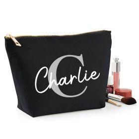 Personalised Name Black Make Up Bag - Grey (ITL#)