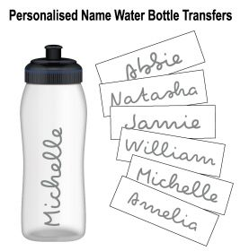 Personalised Name Water Bottle Sticker Transfer (3 Pack) - Grey