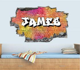 Personalised 3D Graffiti Brick Name Wall Sticker - GTW_0122
