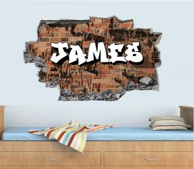 Personalised 3D Graffiti Brick Name Wall Sticker - GTW_0178