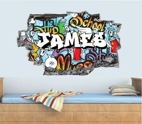 Personalised 3D Graffiti Brick Name Wall Sticker - GTW_1755