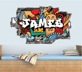 Personalised 3D Graffiti Brick Name Wall Sticker - GTW_3899