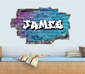 Personalised 3D Graffiti Brick Name Wall Sticker - GTW_4982