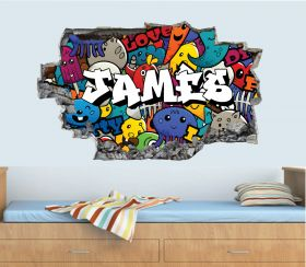 Personalised 3D Graffiti Brick Name Wall Sticker - GTW_6714
