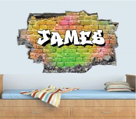 Personalised 3D Graffiti Brick Name Wall Sticker - GTW_6732