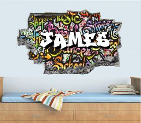Personalised 3D Graffiti Brick Name Wall Sticker - GTW_8223