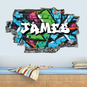 Personalised 3D Graffiti Brick Name Wall Sticker - GTW_8888