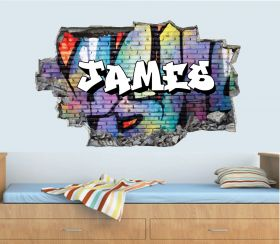 Personalised 3D Graffiti Brick Name Wall Sticker - GTW_8938