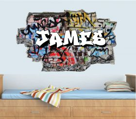 Personalised 3D Graffiti Brick Name Wall Sticker - GTW_9123
