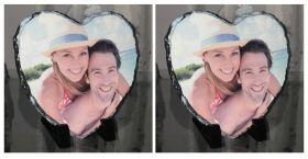 Personalised Photo Slate - Heart Shaped Buy 2