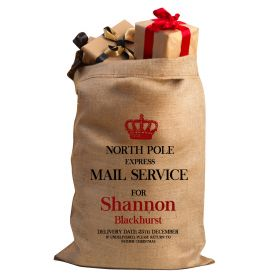 Hessian Christmas Personalised Sack - Crown