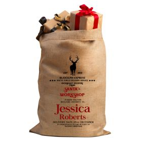 Hessian Christmas Personalised Sack - Rudolph Express