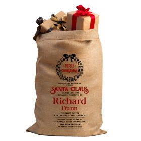 Hessian Christmas Personalised Sack - Wreath