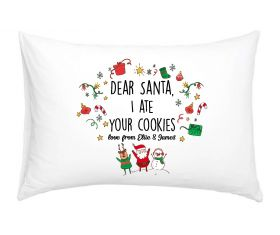 Personalised Pillow Case - Dear Santa I ate your cookies