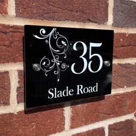 Personalised Rectangular Acrylic Door Sign - (Floral _Pattern _Top)