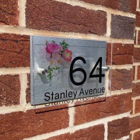 Personalised Acrylic Metal Door Sign - DP_Flowers_C210