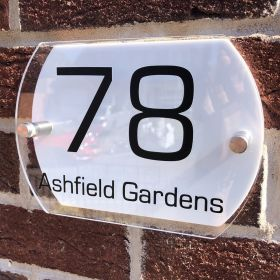 Personalised Acrylic Curve Shaped Door Number Sign