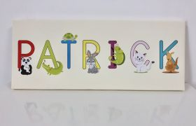 Kids Personalised Letter Name Canvas - Ivory