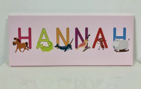 Kids Personalised Letter Name Canvas - Pink