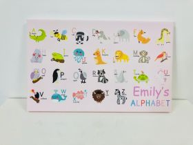 Kids Personalised Alphabet Chart Name Canvas - 16x10 inch