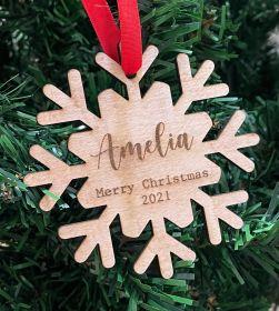 Personalised Christmas Wood Bauble - Snowflake