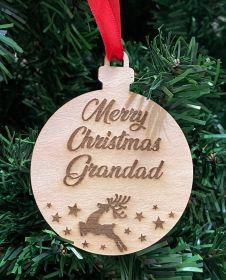 Personalised Christmas Wood Bauble - Merry Christmas Reindeer