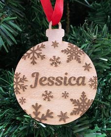 Personalised Christmas Wood Bauble - Round Snowflakes