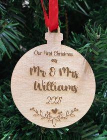 Personalised Christmas Wood Bauble - Mr & Mrs