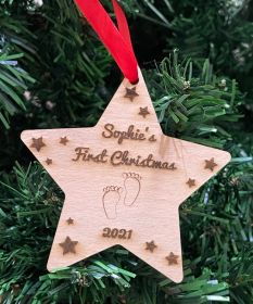 Personalised Christmas Wood Bauble - Star First Christmas Foot Prints