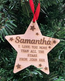 Personalised Christmas Wood Bauble - Star I Love You