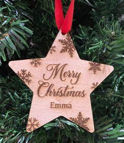 Personalised Christmas Wood Bauble - Star Merry Christmas SFK
