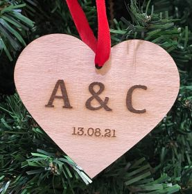 Personalised Christmas Wood Bauble - Heart Initials