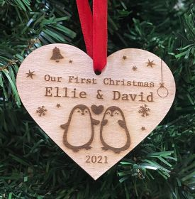 Personalised Christmas Wood Bauble - Our First _ Penguins