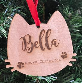 Personalised Christmas Wood Bauble - Cat Meowy Christmas
