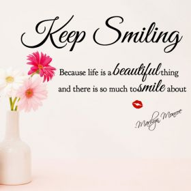 "Marilyn Monroe ""Keep Smiling"" Wall Quote"