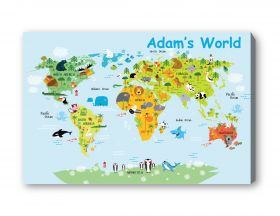 Kids Personalised Name World Map Canvas - A3