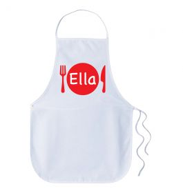 Kids Personalised Name Apron - Dinner Plate Red