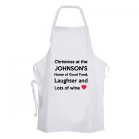 Personalised Christmas Apron - Laughter and Lots of Wine
