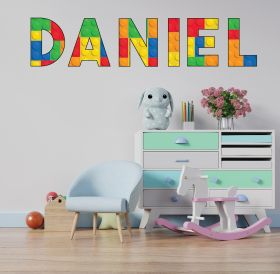 Personalised Name in Building Blocks Wall Sticker