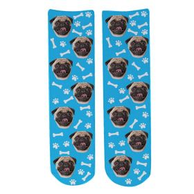Personalised Pet Face Socks - Light Blue (D_Bone_Pattern)
