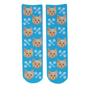 Personalised Pet Face Socks - Light Blue (C_FishB/Paw_Pattern)