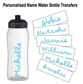 Personalised Name Water Bottle Sticker Transfer (3 Pack) - Light Blue