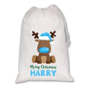 Extra Large White Santa Personalised Sack - Reindeer Light Blue