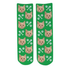 Personalised Pet Face Socks - Green (C_FishB/Paw_Pattern)