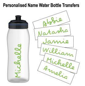 Personalised Name Water Bottle Sticker Transfer (3 Pack) - Light Green