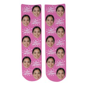 Personalised Happy Birthday Face Socks - BDAY Font_Light Pink